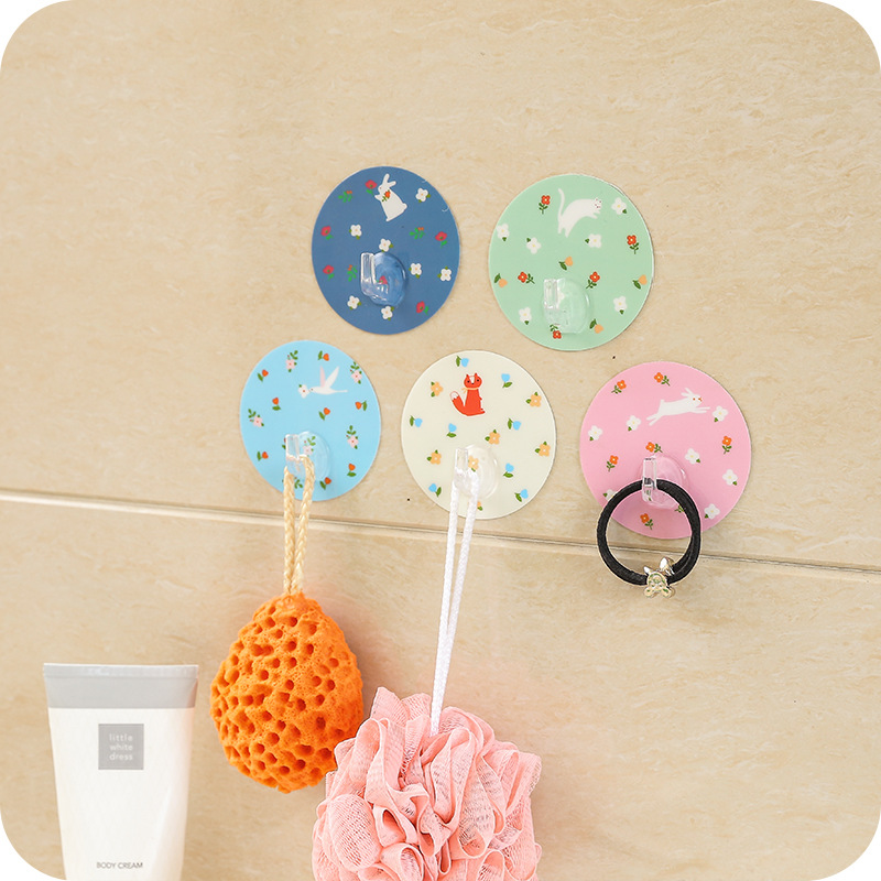 New Floral Seamless Door Hook Free Nail Magic Round Stickers Strong Stick Hook Kitchen Bedroom Wall Hanger F2427
