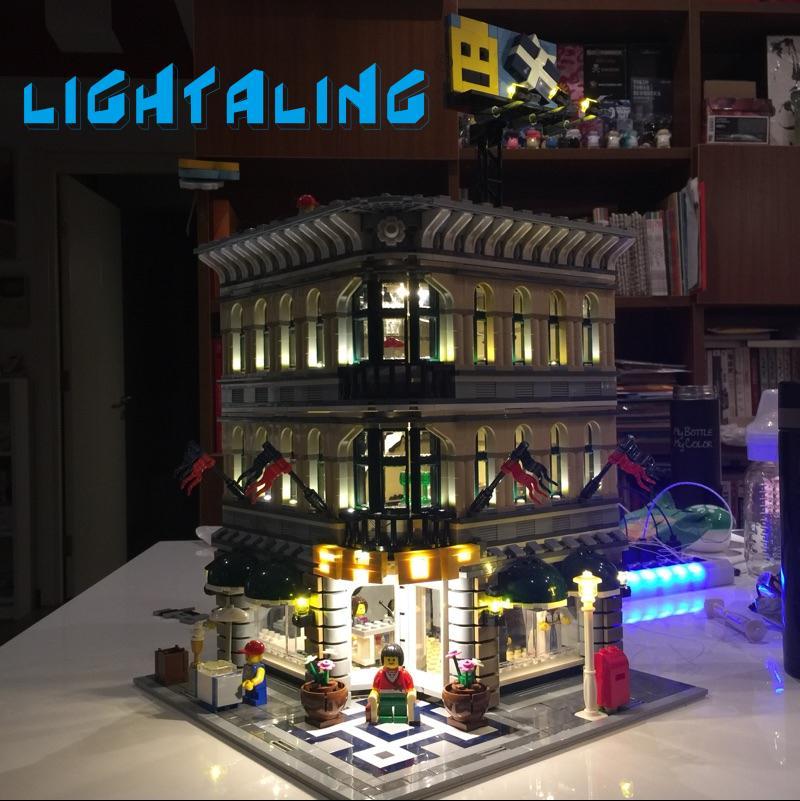Lightaling zestaw oświetlenia LED kompatybilny z marką 10211 klocki klocki Grand Emporium stwórcy dekoracji światła w Klocki od Zabawki i hobby na  Grupa 1