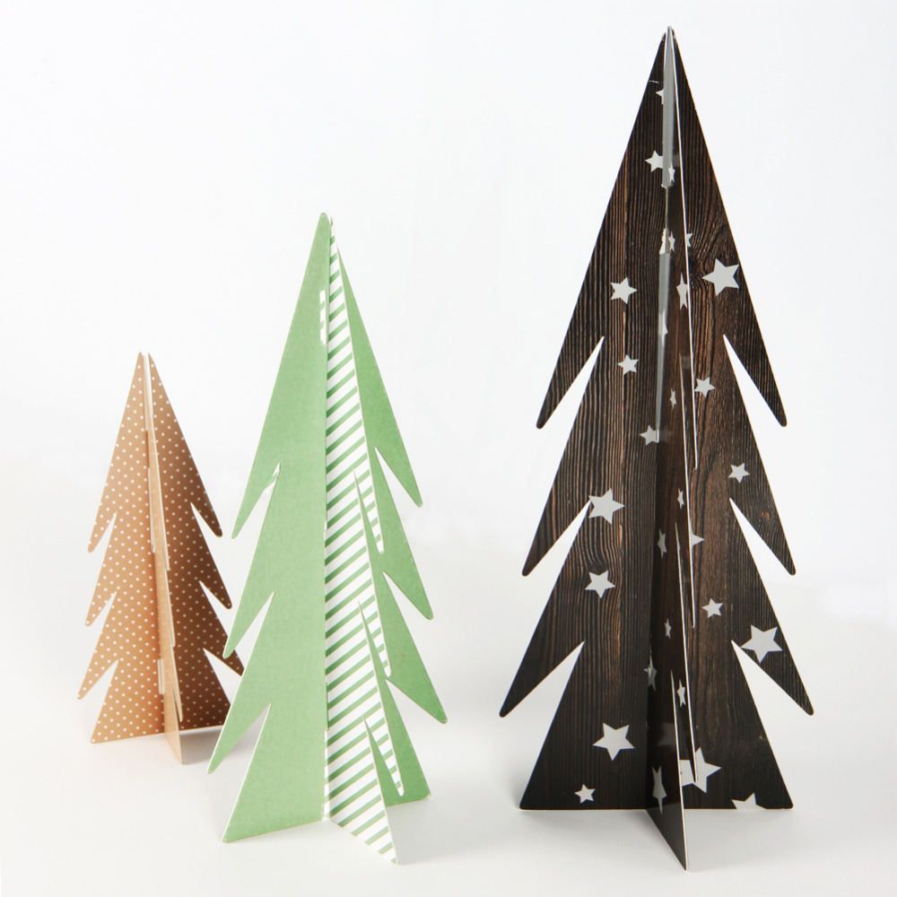 Pack of 3 Christmas Paper Trees Table Centerpiece ...