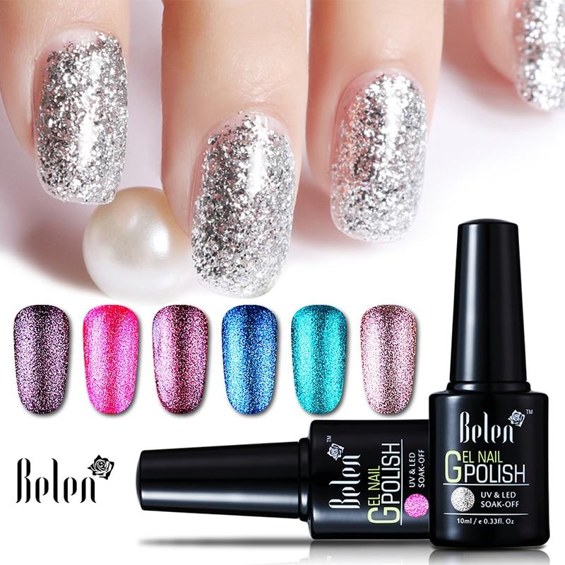 Three Free Nail Polish Brands List: Belen Brands UV LED Nail Gel Polish Glitter Varnish Glow
