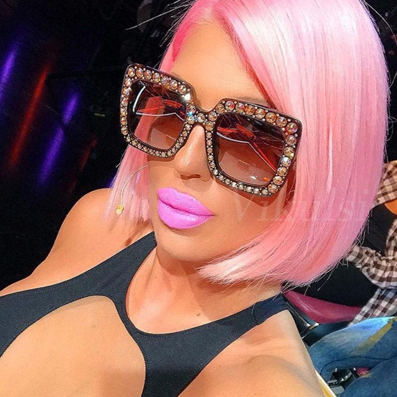 Luxury Brand Designer Oversized Sun Glasses Women Square Sunglasses Retro Crystal Rhinestone Square Frame Ladies Eyewear oculos