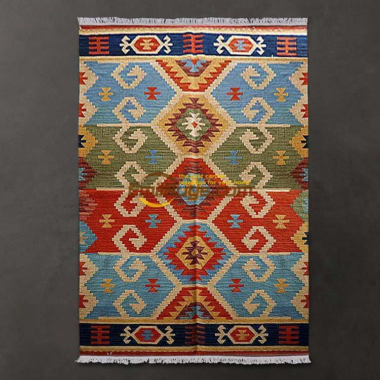 Geometric carpet / Mediterranean style lattice Slim kilim rugs hand-woven wool / living room coffee table carpet gc137-46Geometric carpet / Mediterranean style lattice Slim kilim rugs hand-woven wool / living room coffee table carpet gc137-46