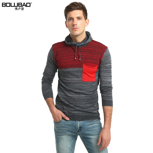 bolubao new men sweater fashion brand clothing patchwork mens christmas sweaters hooded male knitted pullover