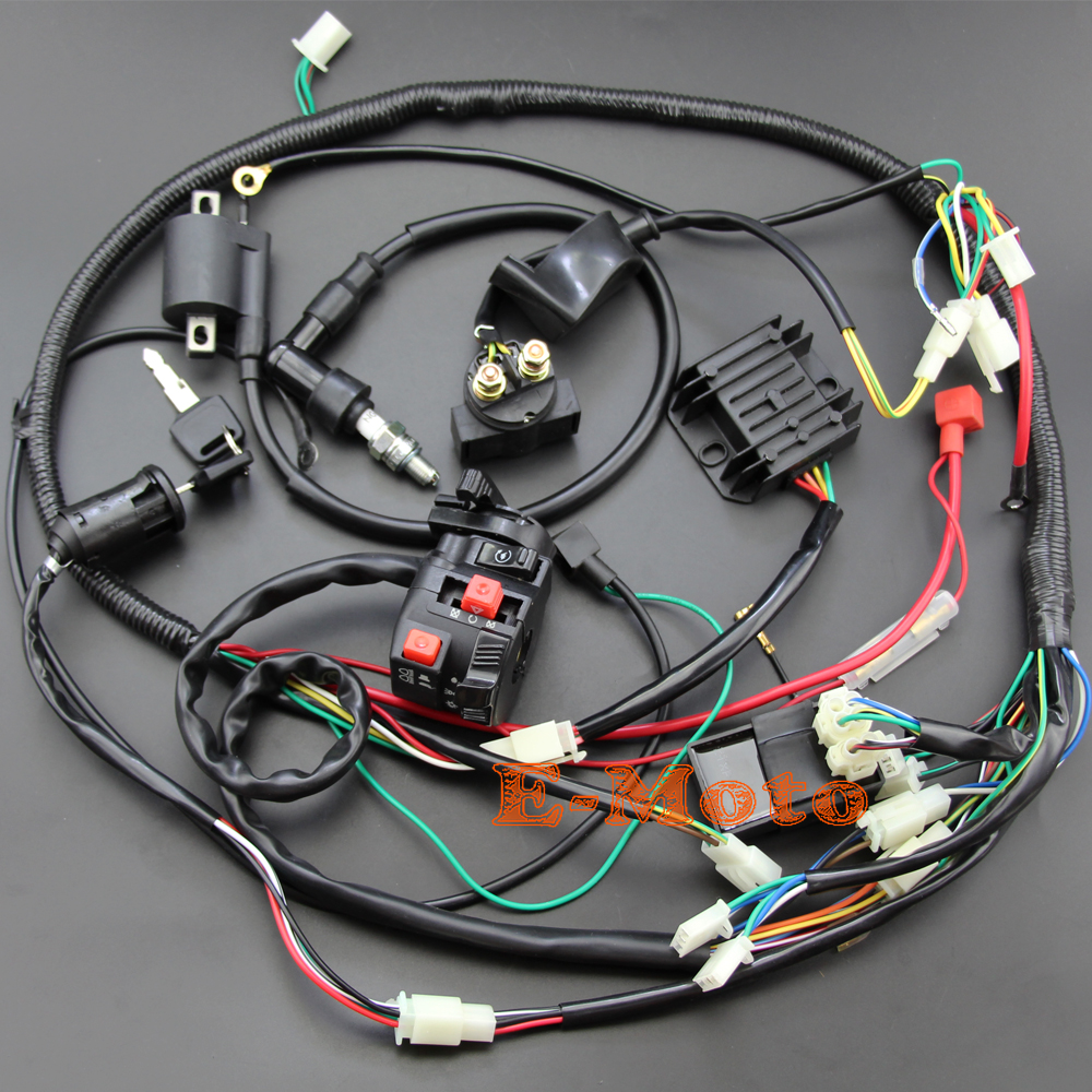 popular gy wiring harness buy cheap gy wiring harness lots from full electrics wiring harness cdi ignition coil key ngk spark plug for 150cc gy6 atv quad