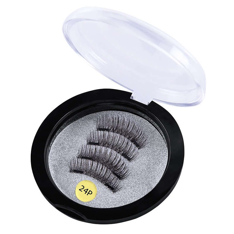 3D false eyelashes with 2 magnets handmade thick natural full strip magnetic false eyelashes reusable false eyelashes small gift in False Eyelashes from Beauty Health