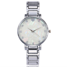 New Fashion Stainless Steel Women Rhinestone Wristwatches Mother of Pearl Dial Watch Luxury Quartz Watch Relogio Feminino