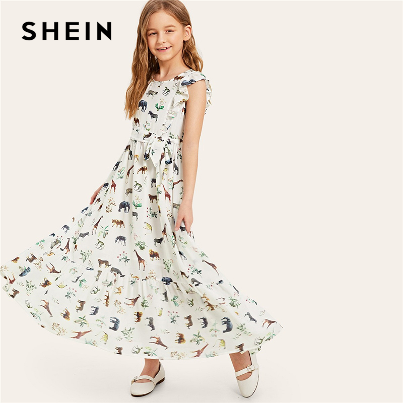 SHEIN Kiddie White Belted Animal Print Ruffle Hem Boho Girl Dress 2019 Summer Sleeveless Beach Style Maxi Kids Dresses For Girls self belted button up plaid print dress