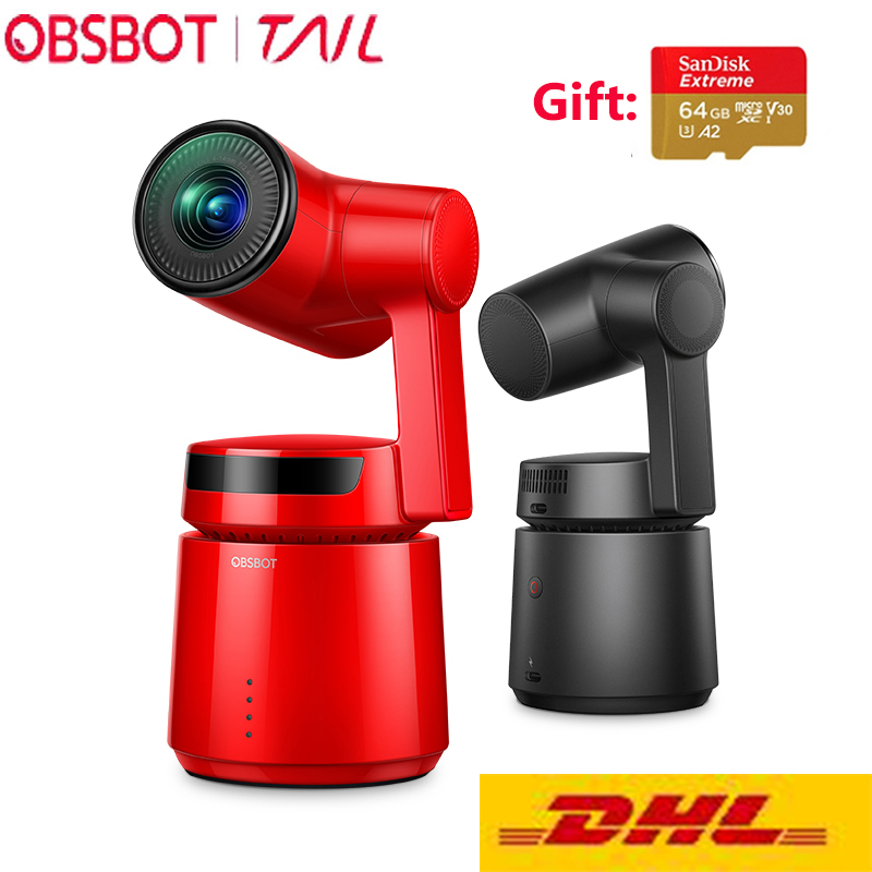 OBSBOT AI Cauda Pista Câmera zoom automático 3 Eixo Cardan 4k 60fps zoom Automático De Rastreamento Robô Selfie Câmera de Vídeo para Vlogging Youtube
