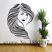 Free Shipping Sexy Girl Beauty Salon Hair Sexy Fashion Girl Vinyl Wall Decal Wall Sticker Hair Shop Salon Window Glass Decor