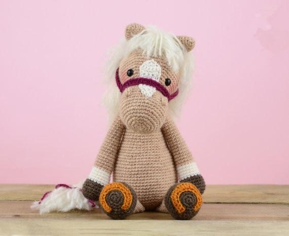 Gehaakte Paard baby rammelaar speelgoed pop gift 3
