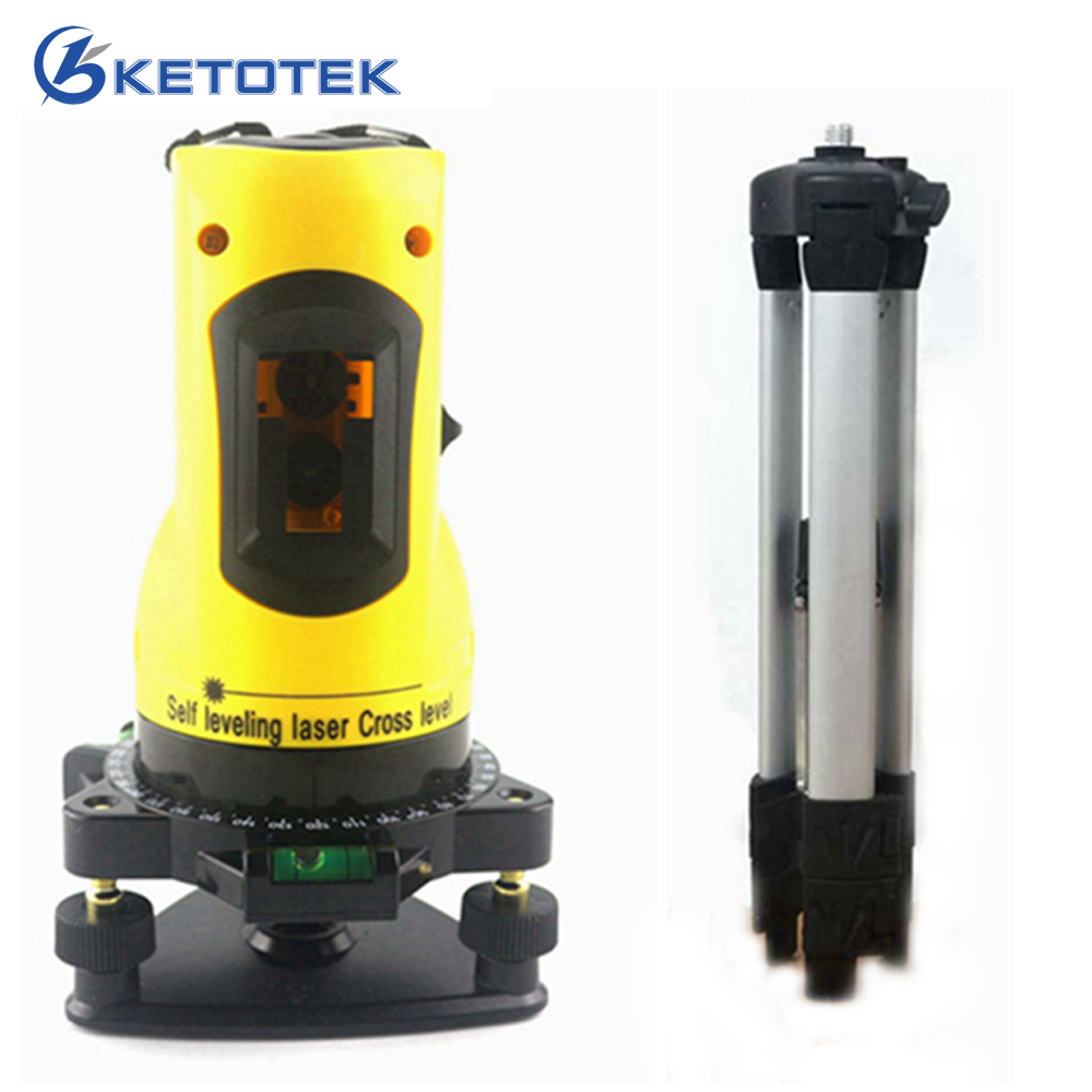 KETOTEK Household Laser Level Horizontal Vertical Lines Cross 360 Rotary Cross Self Leveling Laser Level with Tripod professional 2 lines 2 points 360 rotary cross laser line leveling self leveling precision laser level kit with tripod