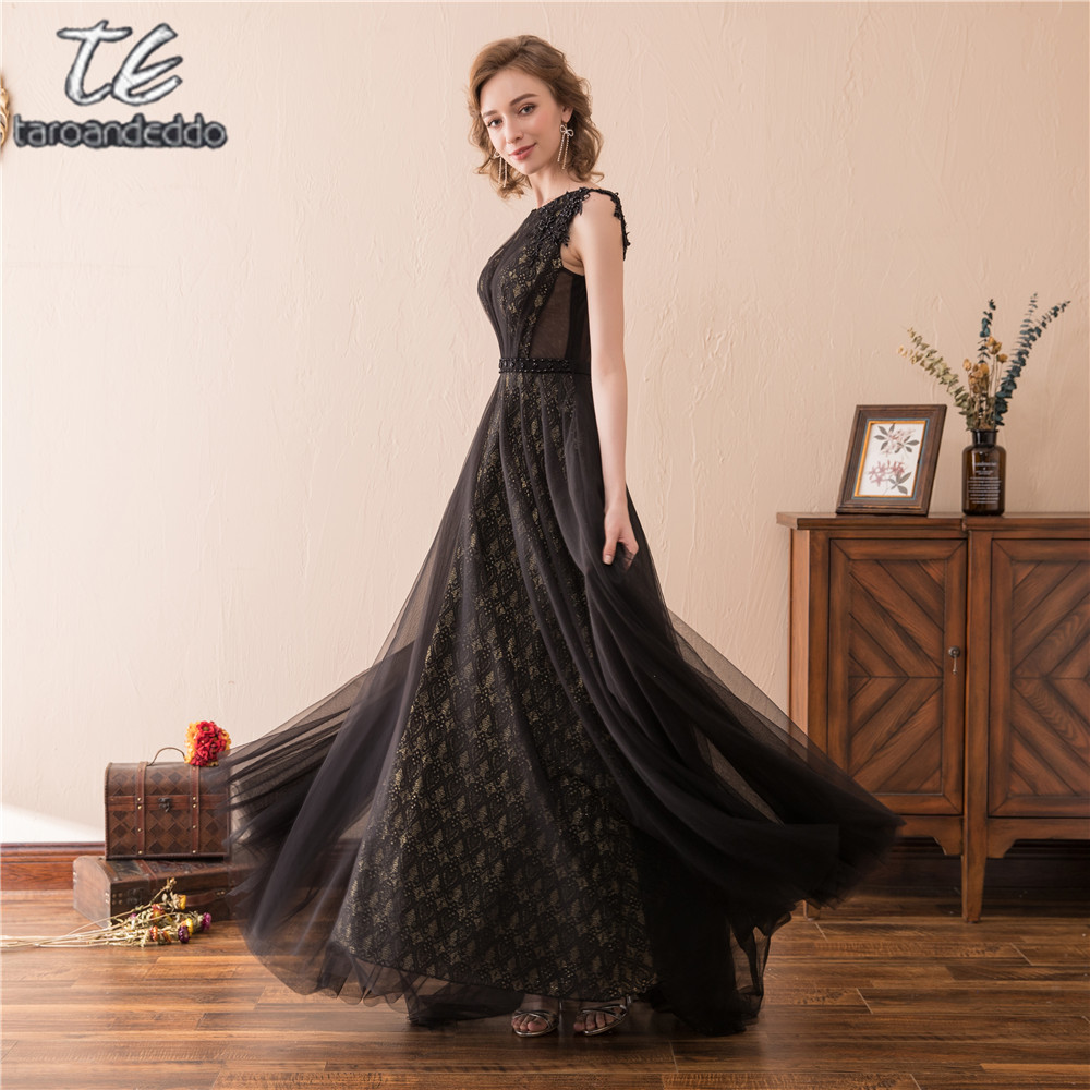 High Neck Sleeves Black And Gold Lace Bridesmaid Dress