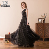 High Neck Sleeves Black and Gold Lace Bridesmaid Dress Beading Belt Evening Wedding Party Dress vestido de formatura