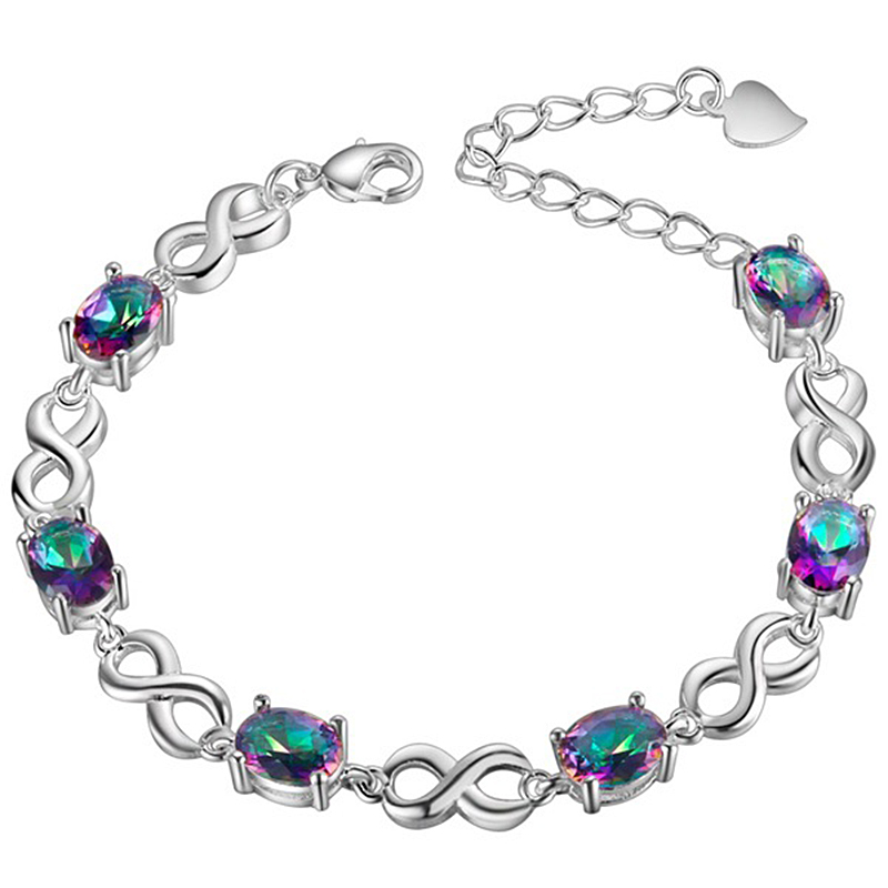 PANSYSEN Charms 8x12MM Water Drop Topaz Gemstone Bracelet For Women Hot 925 Sterling silver Jewelry Bracelets Anniversary Gifts in Bracelets Bangles from Jewelry Accessories
