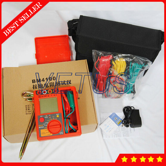 BM4100 Digital Ground Resistance Tester with Measuring range 0-2000 otm 4 8 days arrival lb92t portable sweetness tester brix meter with measuring range 58 92