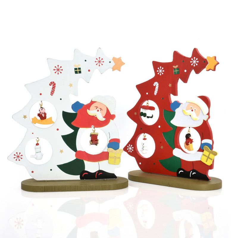 1 set White Red DIY Santa Claus Wooden Christmas Table Decoration with Ornament New Year Kids Christmas Gift Shop Display