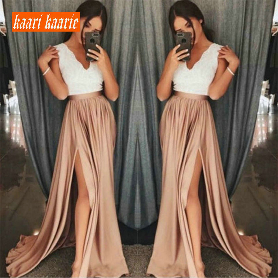 Fashion Orange Women Long   Evening     Dresses   2019 Sexy Girl   Evening   Gowns V-Neck Lace Floor-Length Lady Banquet Formal   Dress   Party