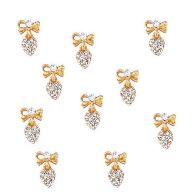 100 stücke Herz Klar Kristall Nagel Charme silber gold Bogen Nagel DIY charme für nagel gel mail polnischen design/bogen Baumeln schmuck, JK8998