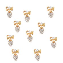 100 sztuk serca jasnego kryształu paznokci urok srebrny złoty łuk paznokci DIY urok do paznokci żel poczta wzór na paznokcie/łuk wisząca biżuteria, JK8998