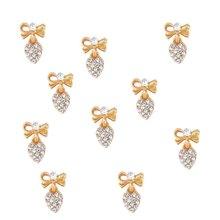100pcs Heart Clear Crystal Nail Charm silver gold Bow Nail DIY charm for nail gel mail polish design/ Bow Dangle jewelry ,JK8998