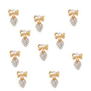 Image 1 - 100pcs Heart Clear Crystal Nail Charm silver gold Bow Nail DIY charm for nail gel mail polish design/ Bow Dangle jewelry ,JK8998