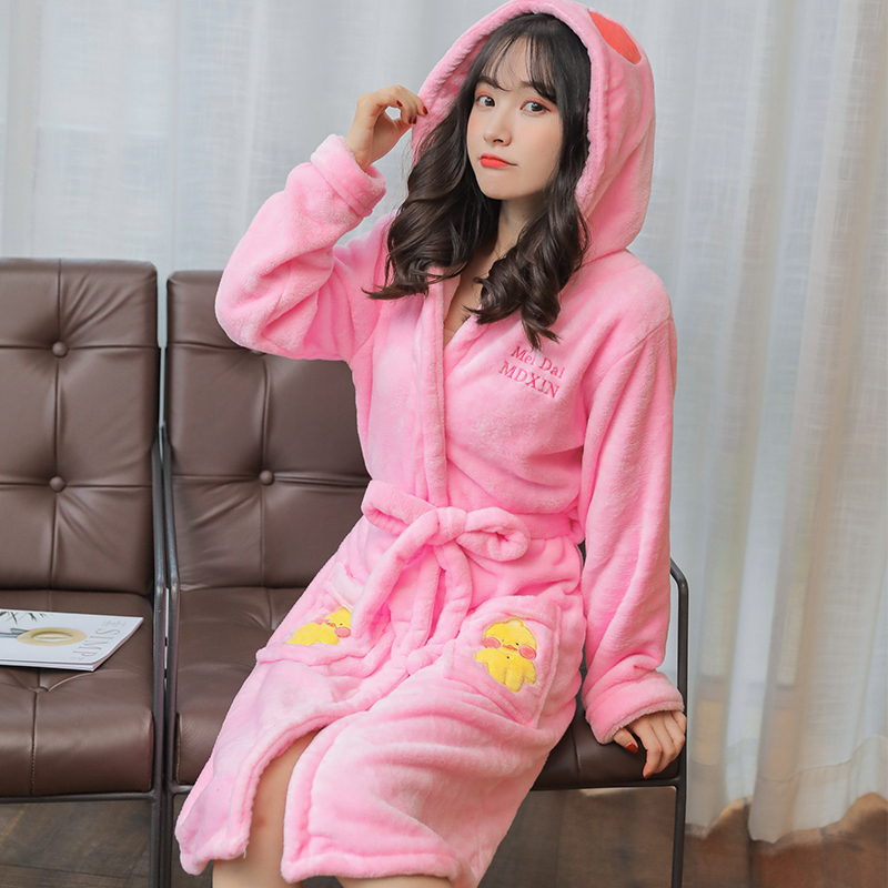 6f90fd3fb9 Thickening Flannel Winter Robe Sexy Robes for Women Bathrobe Dressing Gowns  for Women Bathrobes Girl Sling Cute Robe with A Hat-in Robes from Underwear  ...