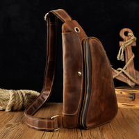 New Men Vintage Crazy Horse Genuine Leather Cowhide Handbag Messenger Shoulder Pack Travel Casual Sling Chest
