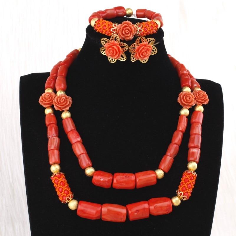 Dudo bijoux collier africain perles de corail ensembles de bijoux pour les femmes avec des fleurs 3 pièces Dubai ensembles de bijoux 2019 Designers bijoux - 3