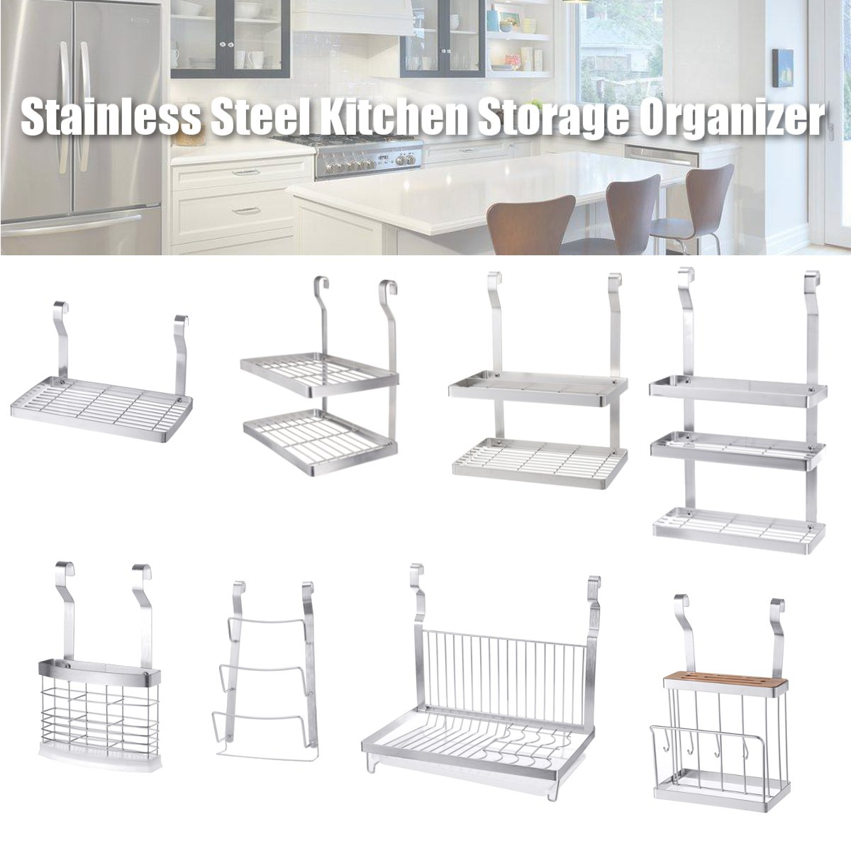 8 Types Stainless Steel Kitchen Organizer Multifunction Dish Drying Rack Wall Hanging Storage Holder Tableware Shelf Drainer Racks Holders Aliexpress
