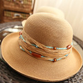 [DRESSUUP]Summer Hats for Women Handmade straw hat women's Garland sun bonnet bucket hat roll-up hem beach cap Nation Style Bead