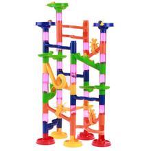 DIY Construção de Mármore Corrida Corrida Bolas Tipo Gasoduto Labirinto Pista Bloco Educacional Brinquedo Do Bebê Blocos de Construção Para Crianças