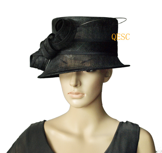 NEW Black Sinamay wedding women's hat panama Fascinator with long ostrich spine for Kentucky Derby and church.brim width 8cm.