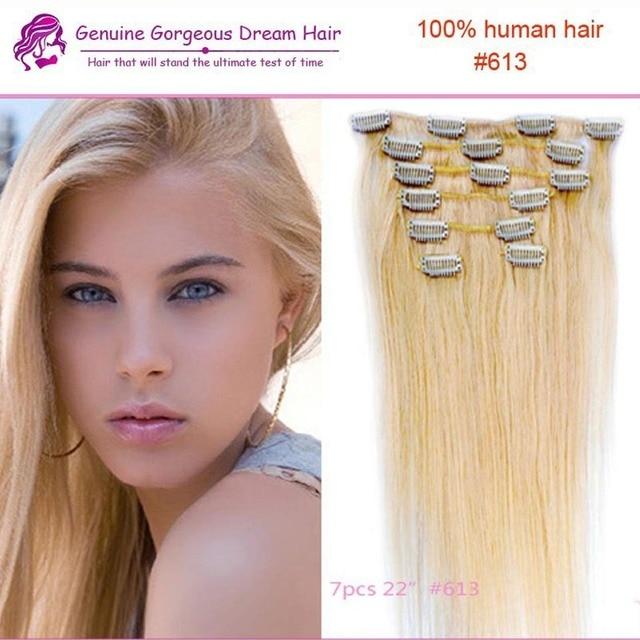 Clip en extensiones de cabello Remi 613 rubio del cabello humano Clip en las extensiones 7 unids 70 G para mujer calidad superior del pelo 70 G/set