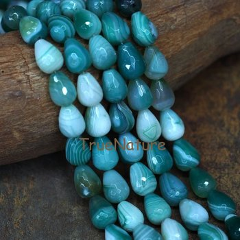 Green Stripped Agates Loose Beads Strand, High Quality Smooth Waterdrop Shape Agates Beads Stone Jewelry In 12*16 mm BE7133