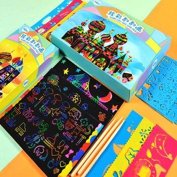 50 Uds. Papel artístico con regla de encofrado de rascar/niños 32K pintura a raspado papel de dibujo para juguetes educativos de jardín de infantes