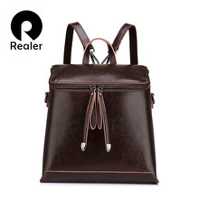 REALER brand women backpack vintage oil wax cow split leather backpack female school bags for teenagers girls shoulder bag(China)