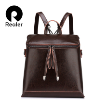REALER brand women backpack vintage oil wax cow split leathe