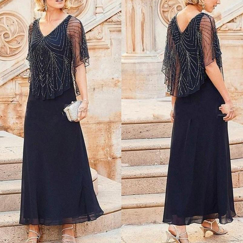 2019 Chiffon Sequin Elegant Dark Navy V Neck Mother Of The Bride Dress A-Line Robe Mere De La Mariee