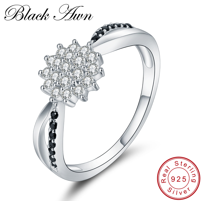 [BLACK AWN] 925 Sterling Silver Fine Jewelry Trendy Flower Engagement Bague Wedding Rings for Women C313