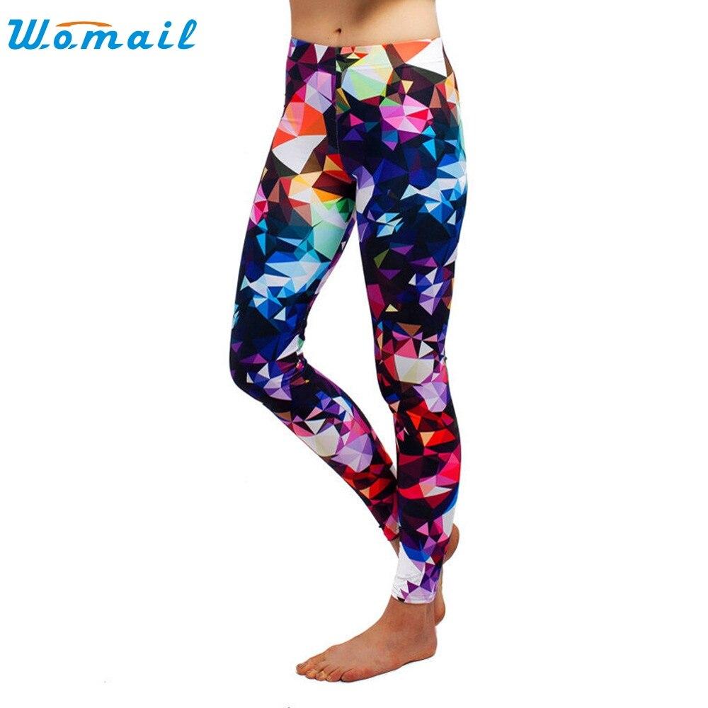 Prix pour Sexy Femmes Gym Fitness Pantalon Femmes Skinny Géométrique Lumineux Couleur Imprimer Extensible Pantalon Slim Leggings Running & Randonnée Dec5