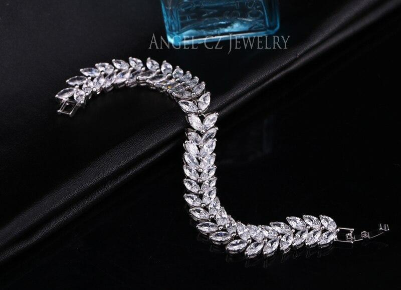 ANGELCZ 18 New Design Women Dress Jewelry Leaf Cubic Zirconia 925 Sterling Silver Strand Bracelet With Red Black Stone AB007 13