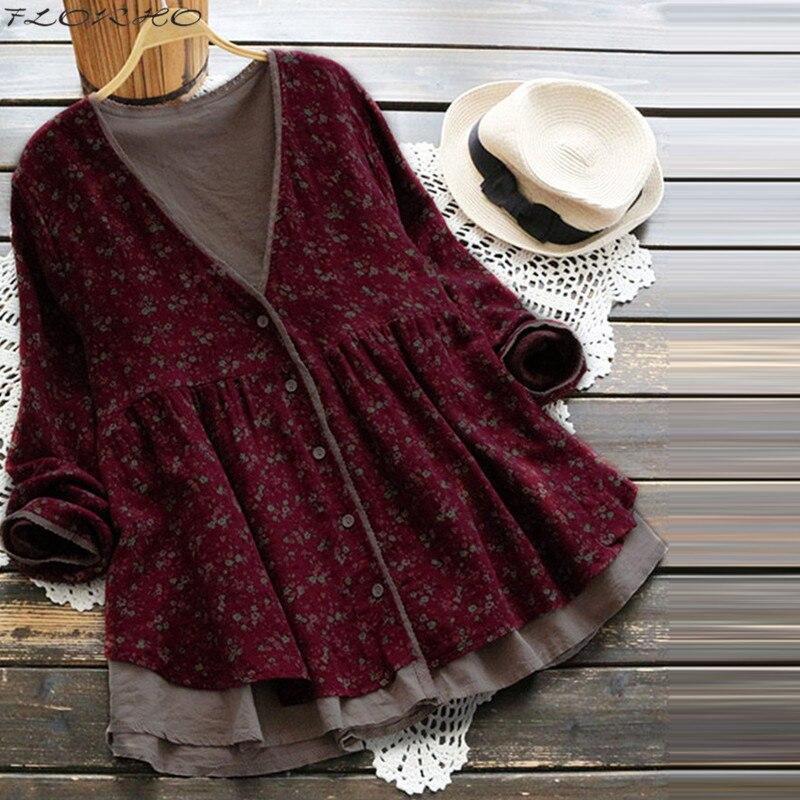 Blusa de manga larga para primavera y otoño, camisa con estampado Floral Vintage para mujer, Rebeca de talla grande, Tops con botones para mujer 2021