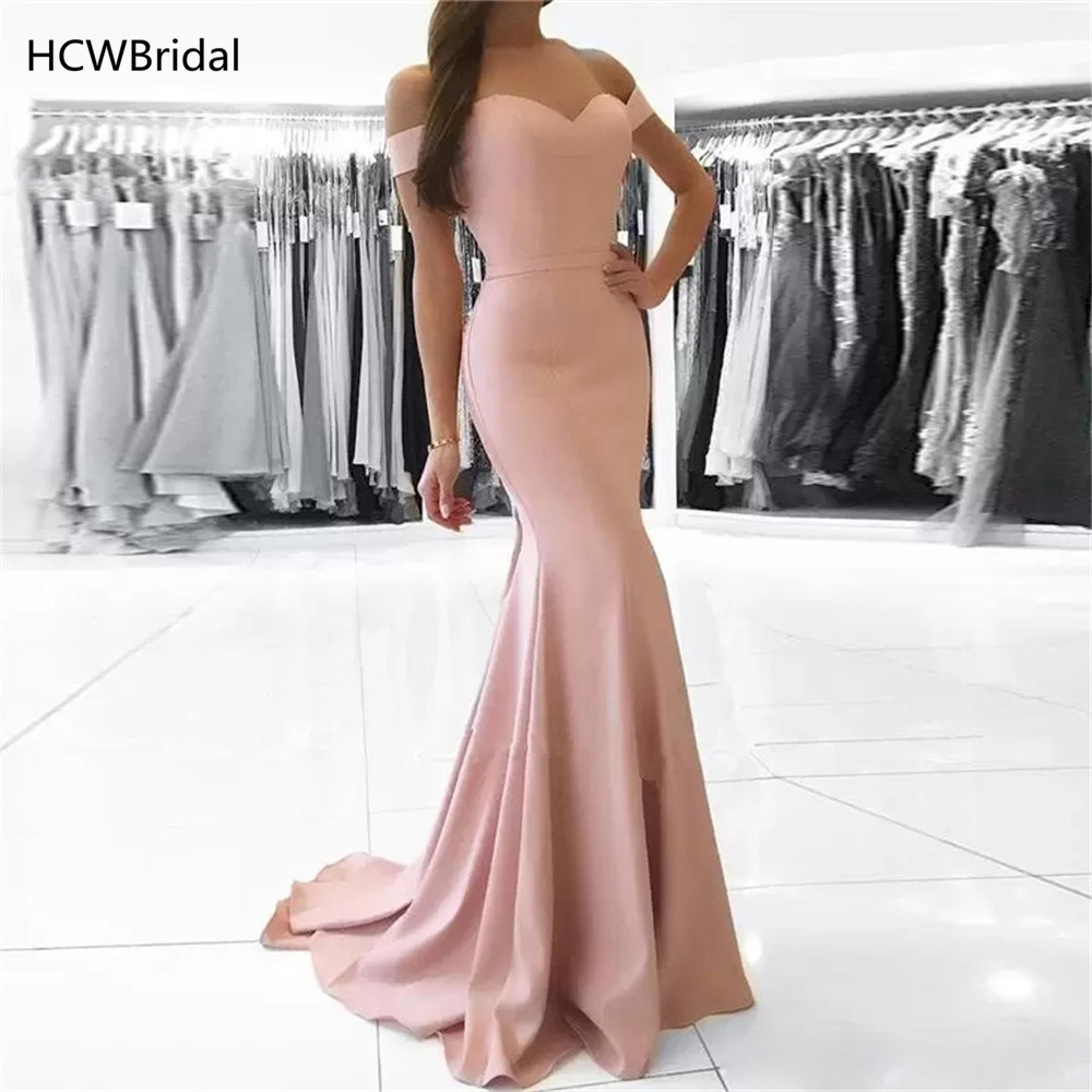 Blush Pink Mermaid Simple   Evening     Dress   Off The Shoulder Floor Length Long Prom Gowns 2019 Cheap Women Wedding Party   Dresses