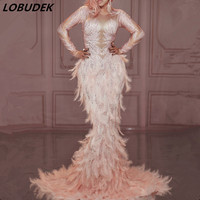 Модный серый жемчуг Кристаллы платье сексуальное женское день рождения Празднование цельное платье для певцов в ночном клубе Главная сцен