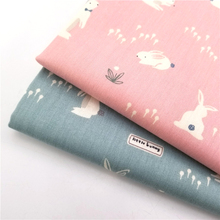 Lovely Rabbit Printing Cotton Twill Patchwork Fabric Pink/Blue 100% Pure Handmade Woven Home Textile Bedding Material