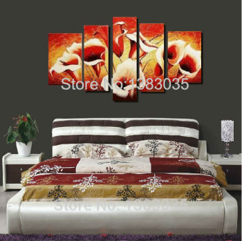 Hand Painted Abstract Lily Flowers Oil Paintings On Canvas 5 Panel Modern Wall Art Picture Home Decoration Sets