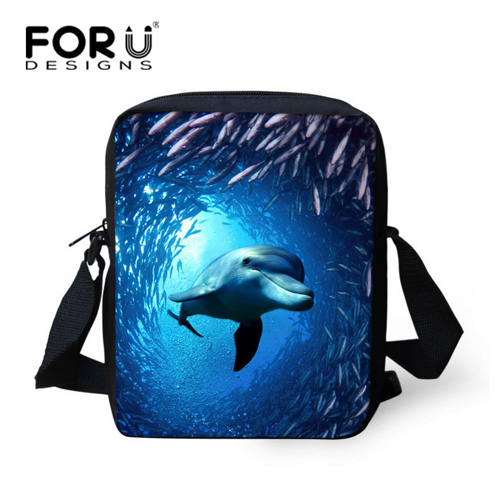 Fashion School Bags for Girls Dolphin Shark Printing Schoolbag for Kids Blue Children Animal Bookbag Mochila infantil Polyester