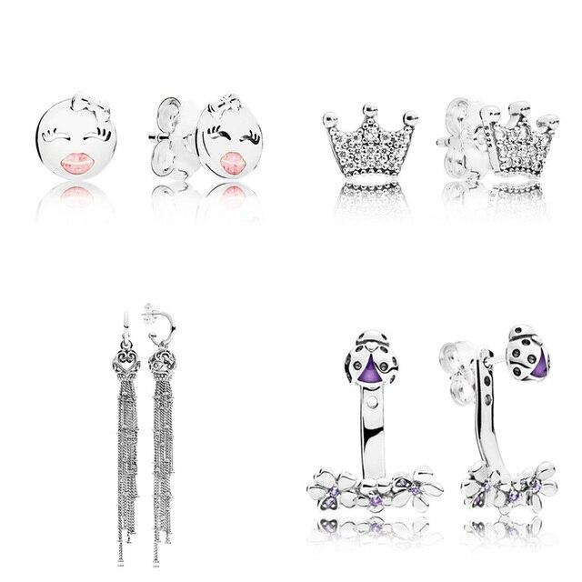 4 Style 1 Pair Women Ear Studs Star Smiley Face Flower Crown Crystal Diy Earrings High Quality Earring Women Wedding Jewelry
