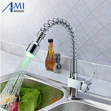 Kitchen RGB LED pull out sink basin mixer tap chrome swivel brass 2 function Faucet KF026