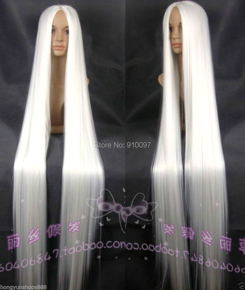 free shipping>>>>Hot sell !!! New Extra Long white Cosplay Wig - 60 inch High Temp 150cm стоимость